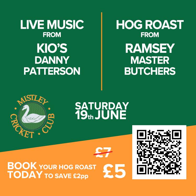 Hog Roast and Live Music at Mistley Cricket